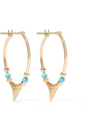 18-karat gold turquoise hoop earrings