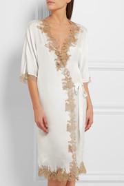 Le Reve lace-trimmed silk-chiffon robe