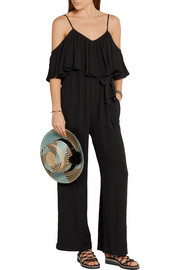 Off-the-shoulder crinkled-crepe jumpsuit