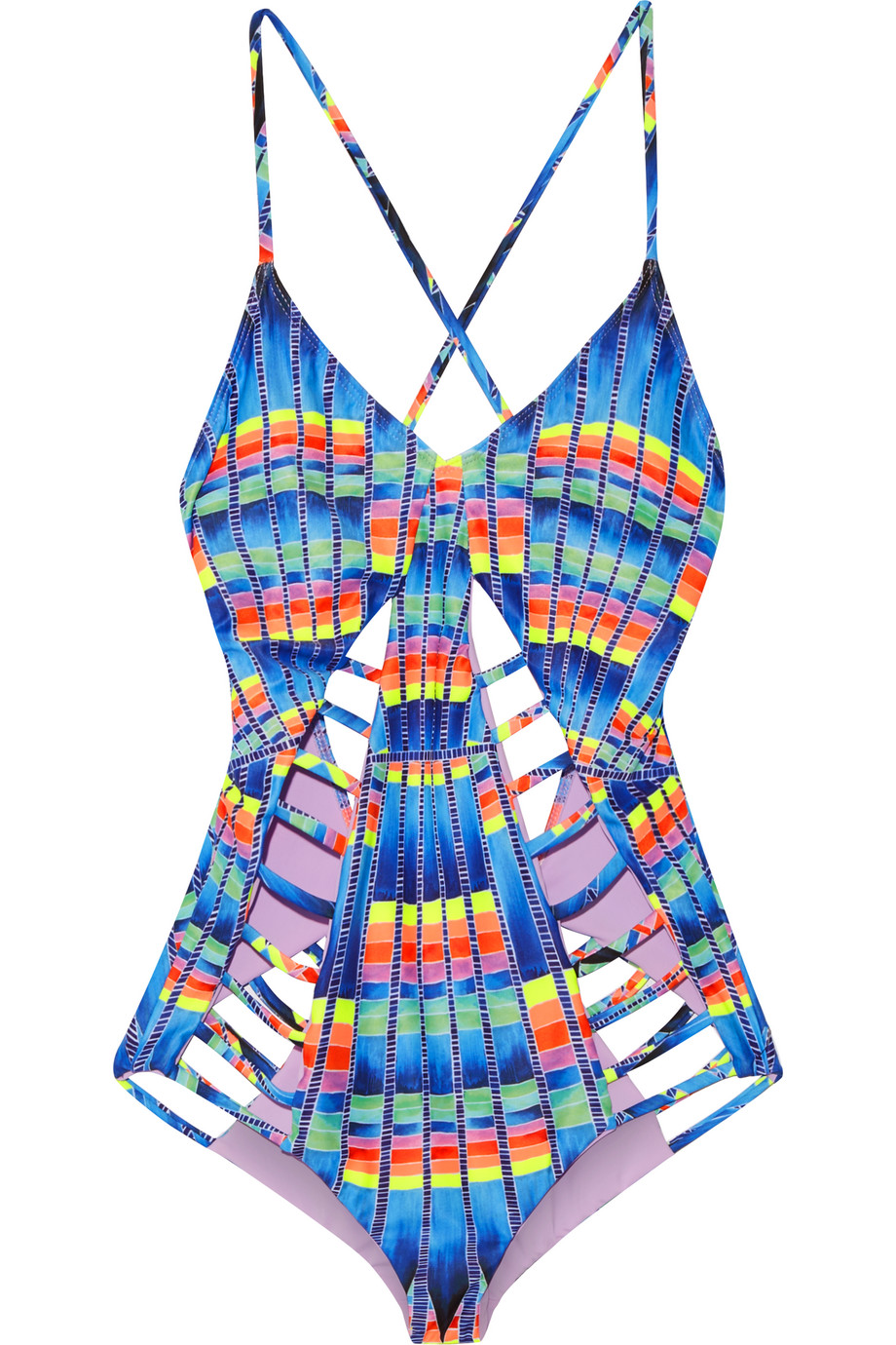 Mara Hoffman Cutout Printed Swimsuit, Azure, Women's