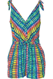 Printed crepe playsuit