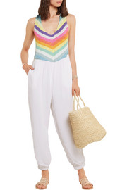 Crochet-paneled crinkled-voile jumpsuit