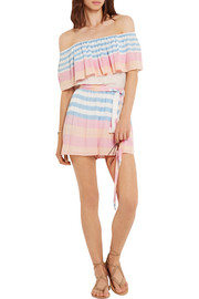 Off-the-shoulder striped crinkled-voile playsuit