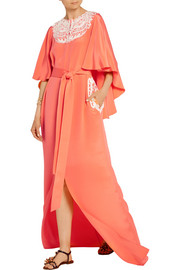 Embroidered cape-effect silk-crepe gown
