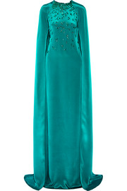 Oscar de la Renta Cape-effect embellished silk-satin gown