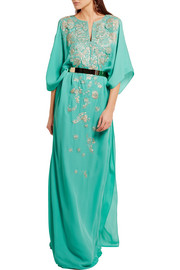 Embroidered silk-crepe gown