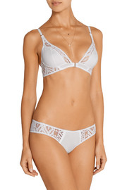 Echauffe cotton and lace soft-cup bra