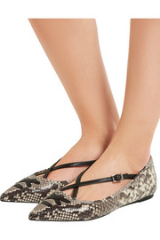 Roslyn snake-effect leather point-toe flats