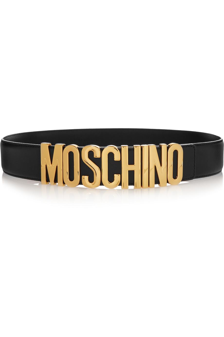 Moschino Embellished Leather Belt, Black, Women's, Size: 40