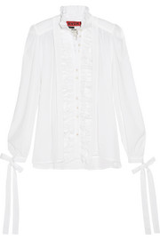 Ruffled cotton-batiste blouse