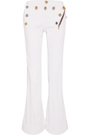 J.M embellished cotton-twill wide-leg pants