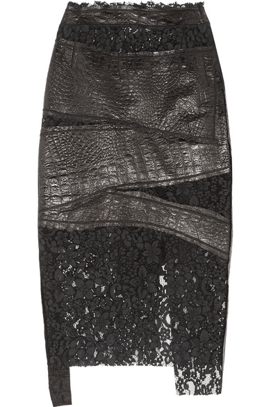Ronald Van Der Kemp - Croc-effect Leather And Corded Lace Skirt - Black