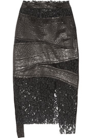 Croc-effect leather and corded lace skirt