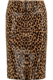Leopard-print calf hair pencil skirt