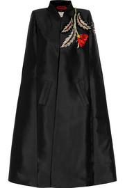 Embroidered embellished duchesse silk-satin cape