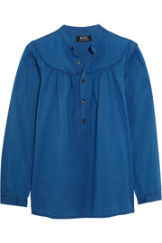 Ingalls ruched cotton-chambray blouse
