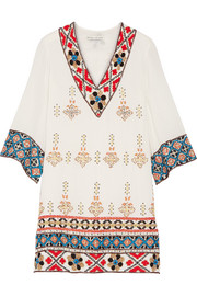 Alice + Olivia Ray embroidered embellished cotton-gauze mini dress