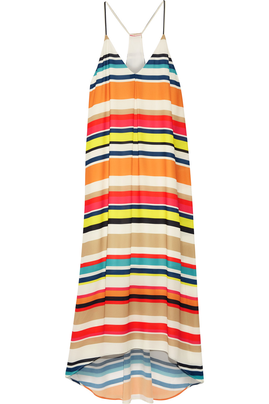 Alice + Olivia Cortes Striped Georgette Midi Dress, White/Orange, Women's
