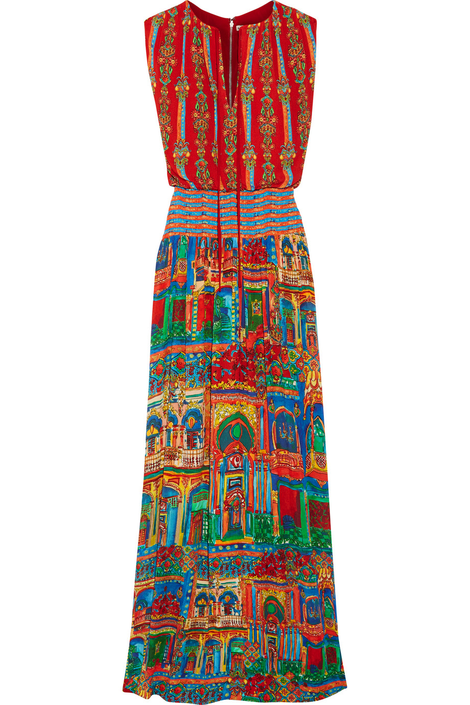 Alice + Olivia Lorelle Smocked Printed Voile Maxi Dress, Size: 8
