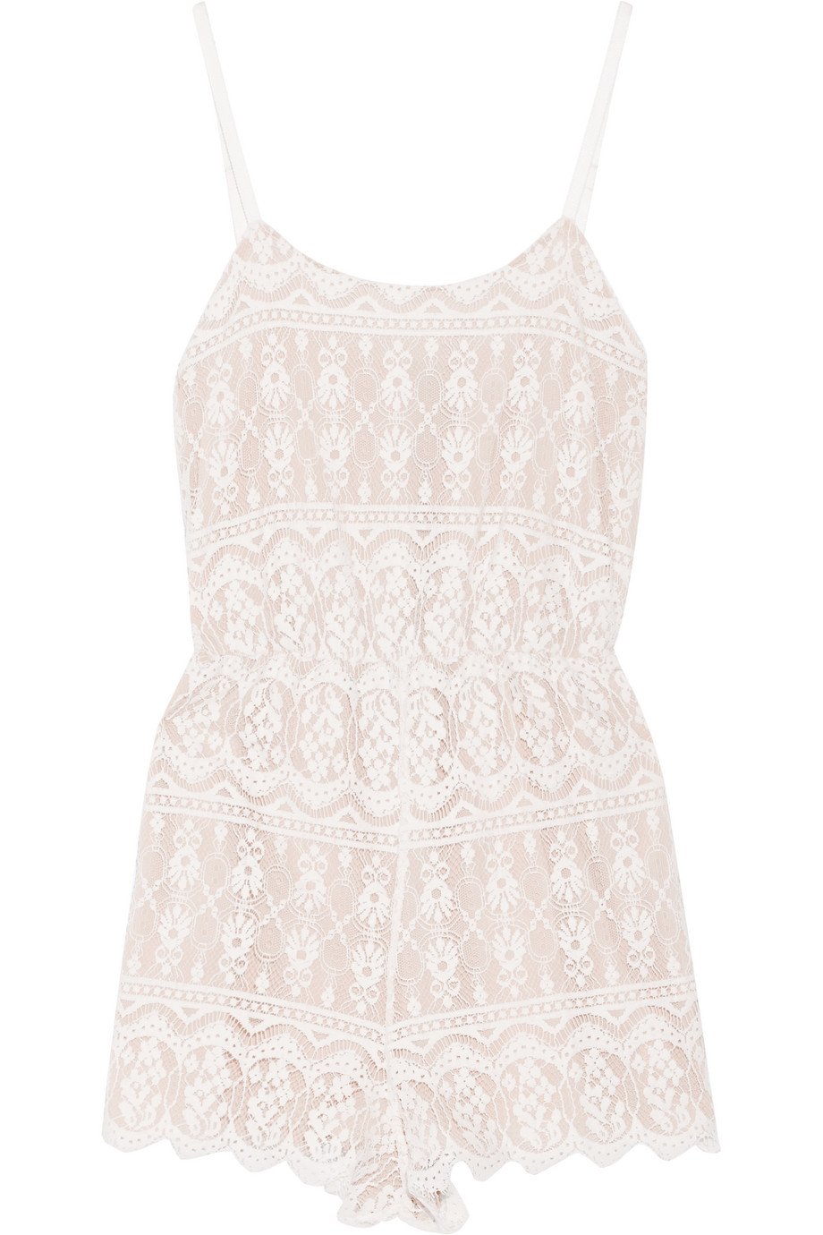 Alice + Olivia Cassia Lace Playsuit, White, Women's, Size: 2