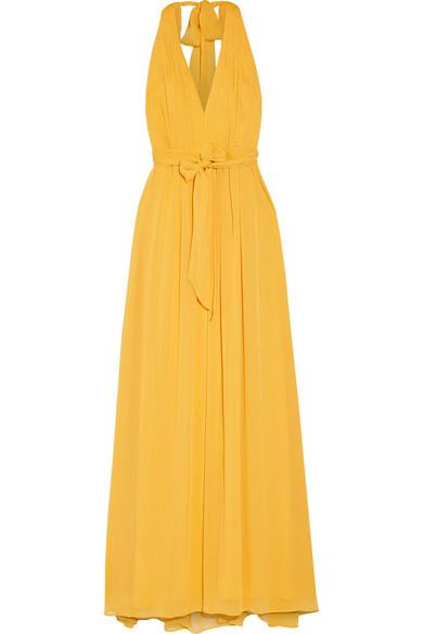 Kidy Pleated Crepon Maxi Dress