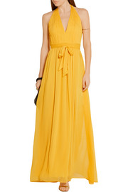 Alice + Olivia Kassidy pleated crepon maxi dress