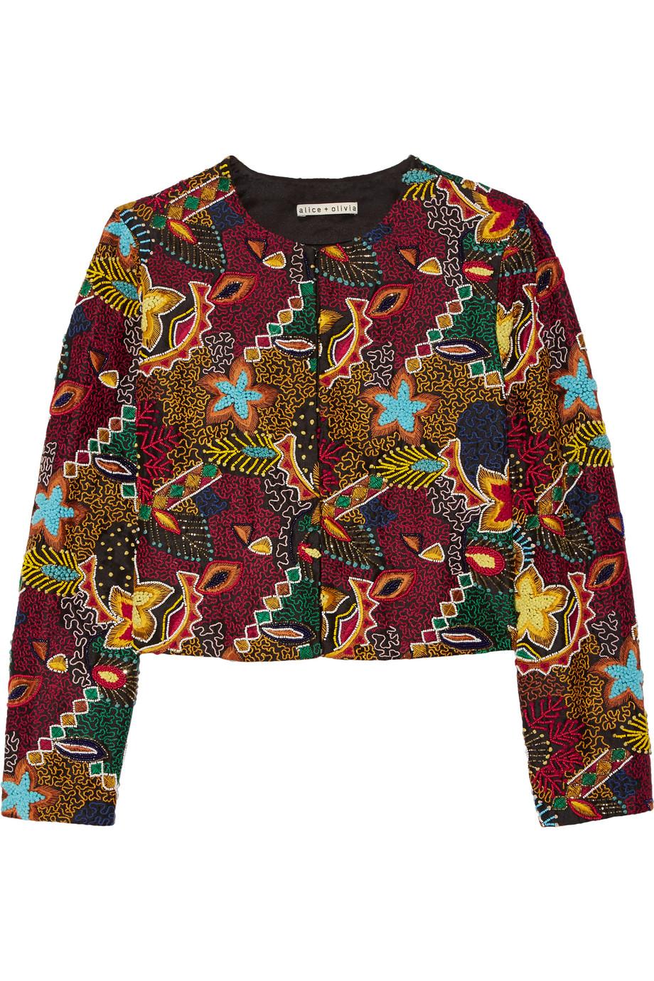 Alice + Olivia Lainey Embellished Embroidered Crepe Jacket, Green, Women's, Size: XS