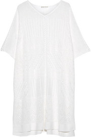 Alice + Olivia Willard pointelle-knit linen-blend poncho