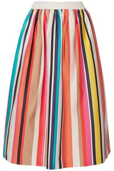 Alice + Olivia - Nikola Striped Stretch-cotton Poplin Midi Skirt - Ivory