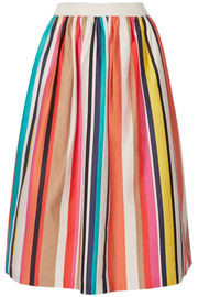 Nikola striped stretch-cotton poplin midi skirt