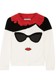 Alice + Olivia Stace Face Frida intarsia cotton cardigan