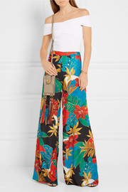 Alice + Olivia Athena printed stretch crepe de chine wide-leg pants