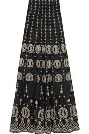 Alice + Olivia Lysa embroidered cotton-voile maxi skirt