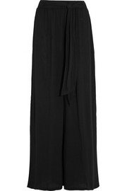 Crinkled-gauze wide-leg pants