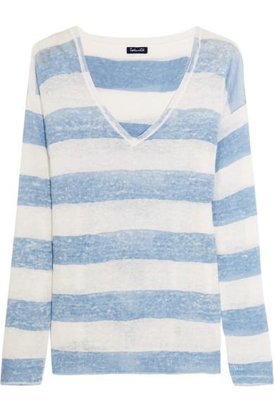 Splendid - Southampton Striped Linen Sweater - Sky blue