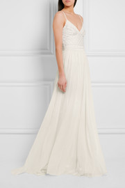 Anastasia embellished tulle and silk-chiffon gown