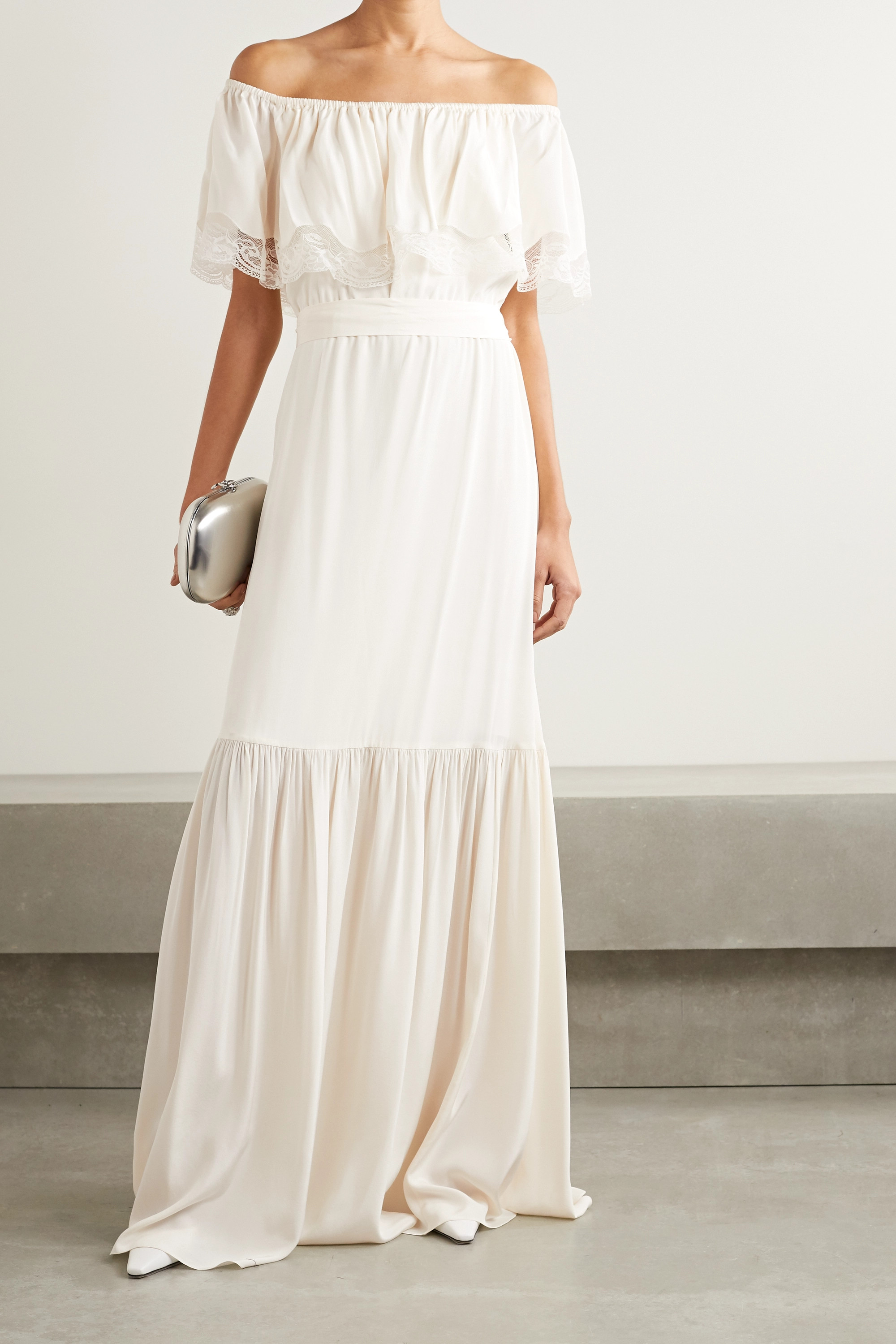 Temperley London Felicity off-the-shoulder lace-trimmed silk crepe de chine gown
