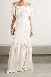 Felicity off-the-shoulder lace-trimmed silk crepe de chine gown