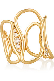 Fluid 18-karat gold diamond ring