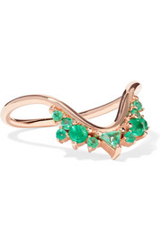 Fusion Wave small 18-karat rose gold emerald ring