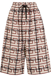 Sumo printed stretch-cotton culottes