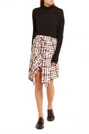 Hope asymmetric printed cotton-blend mini skirt