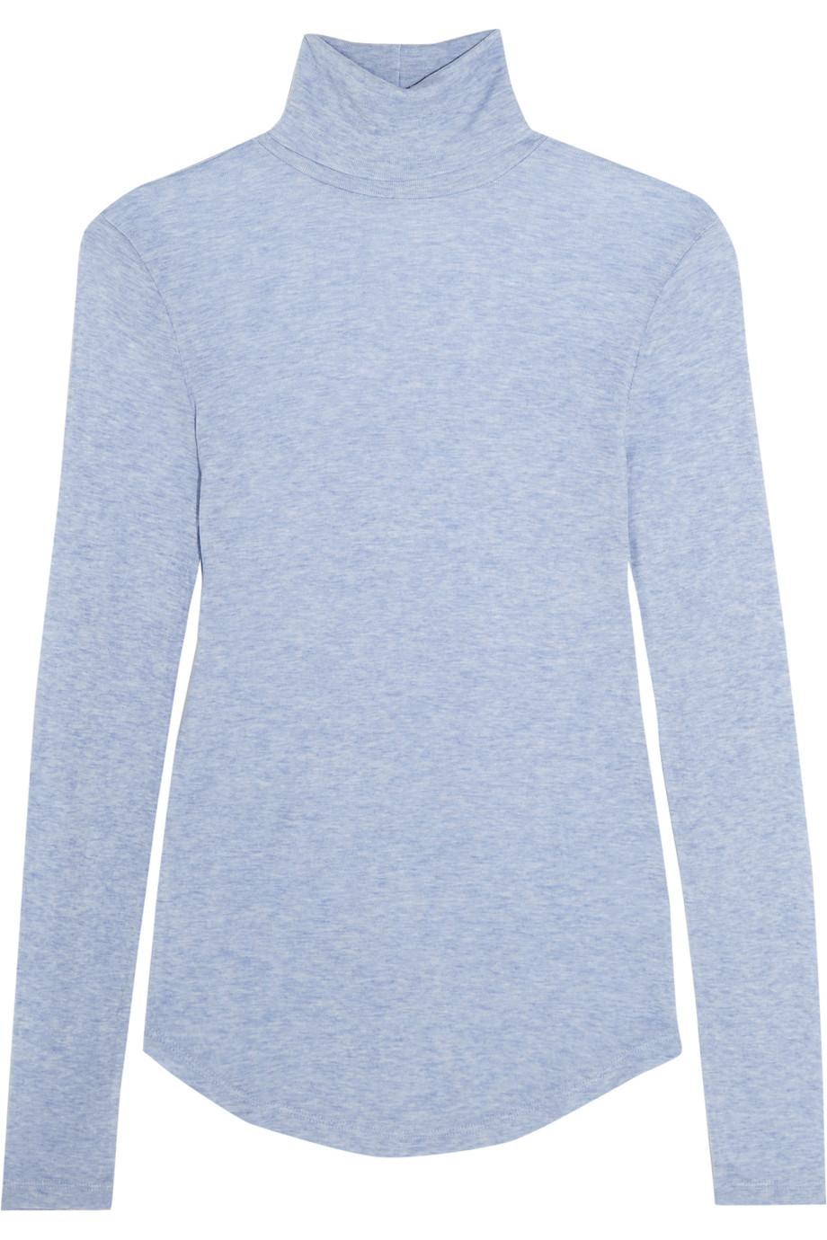 J.Crew Tencel and Cashmere-Blend Turtleneck Sweater, Light Blue, Women's, Size: XL