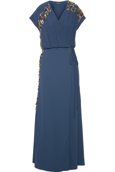 By Malene Birger - Wynona Embellished Crepe Wrap Maxi Dress - Storm blue