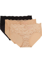 Commando Double Take set of three lace-paneled stretch briefs