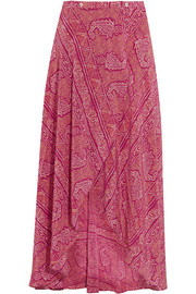 Boho June printed silk crepe de chine wrap maxi skirt