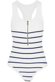 Heidi Klein Nantucket striped stretch-cloqué swimsuit
