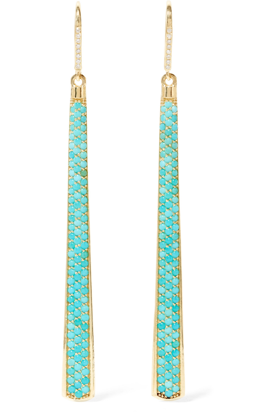 Jennifer Meyer 18-Karat Gold, Turquoise and Diamond Earrings, Gold/Turquoise, Women's