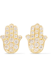Jennifer Meyer Mini Hamsa 18-karat gold and diamond earrings