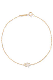 Mini Hamsa 18-karat gold diamond bracelet